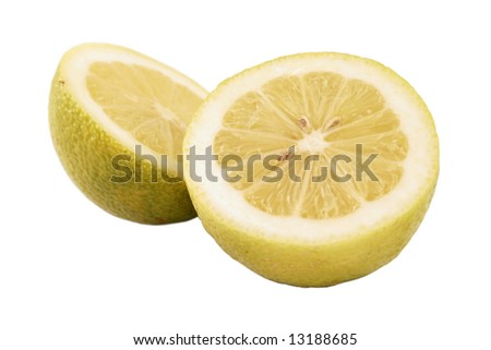 Close-up of a cut lemon isolated on white