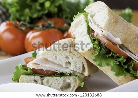 close up of a cut turkey sub with tomato, lettuce and cheese - stock photo