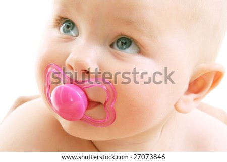 close-up of a cute baby girl over white background