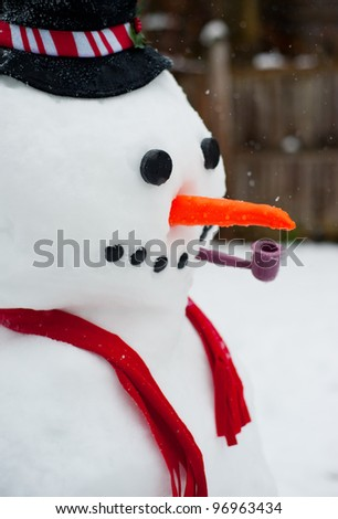 Close up of a cute snow man in winter. - stock photo