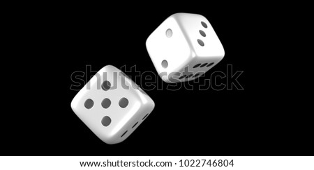 Close up of a dice throw mid air with a black background. 3D Rendering