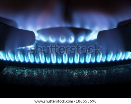close up of a domestic kitchen gas stove - stock photo