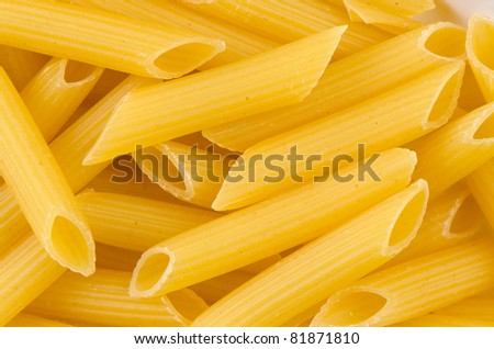 Close up of a dried italian pasta on white background