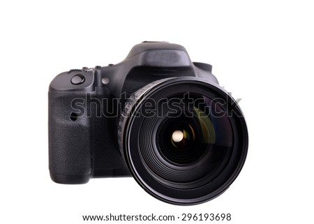 Close up of a Dslr camera and lens isolated on a white background