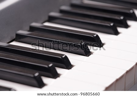 Close-up of a electronic piano keyboard - stock photo