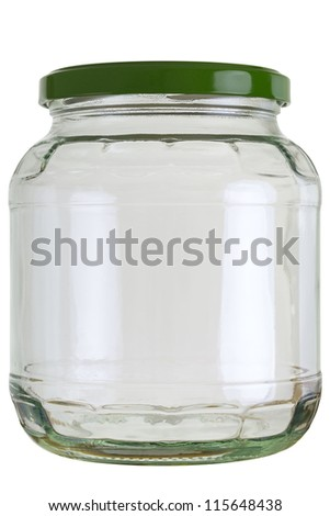 Close up of a empty preserving glass isolated on white.