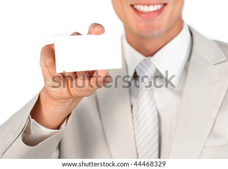 Close up of a ethnic charming businessman holding a white card against a white background
