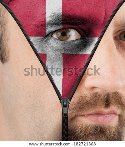 close-up of a face unzipping to show the flag of Denmark