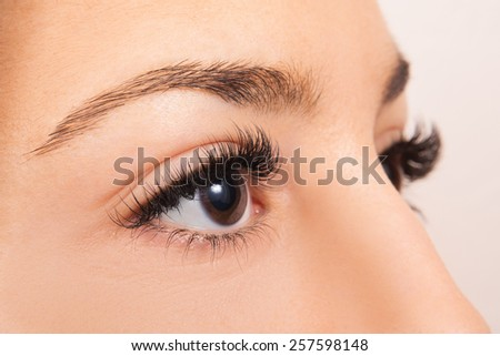 Close up of a females brown eyes - stock photo