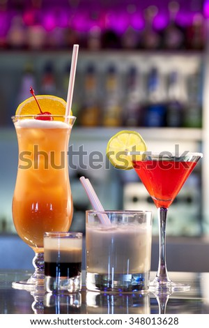 close-up of a few cocktails in the nightclub - stock photo