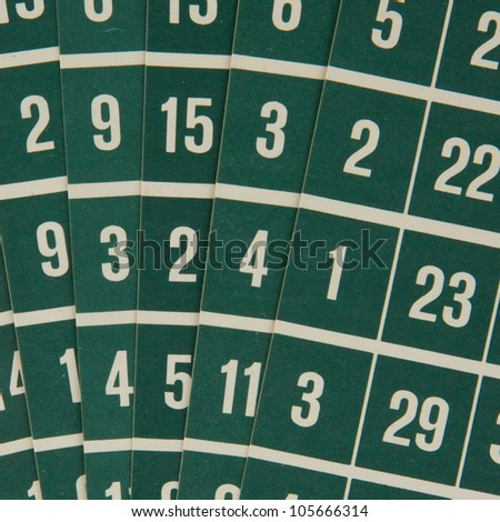Close-up of a few green bingo cards - stock photo