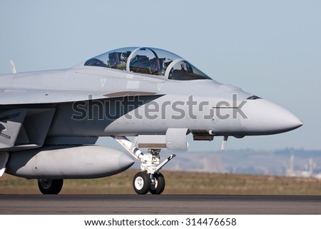 Close up of a fighter jet on a runway - stock photo