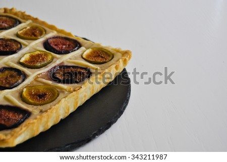 Close up of a figs pie. Homemade dessert. Food