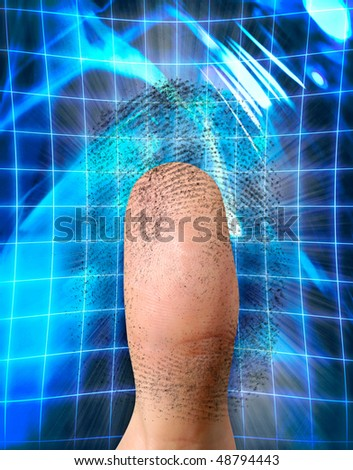 Close-up of a fingerprint and a thumb. Biometric identification, security concept - stock photo