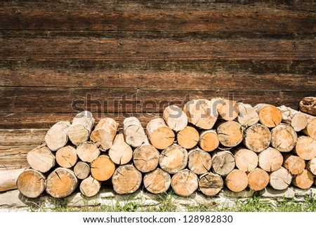 close-up of a firewood heap - nice background pattern - stock photo