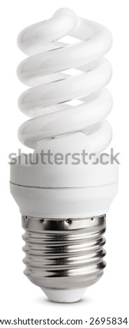 Close up of a fluorescent light bulb, isolated on white background with clipping paths - stock photo