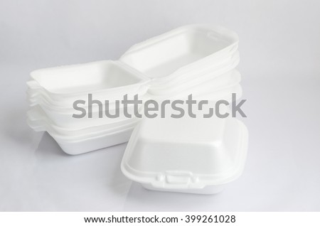 Close up of a foam food containers on white background - stock photo