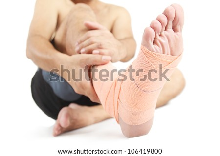 Close up of a foot with bandage. - stock photo