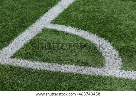 Close-up of a football field corner on artificial turf