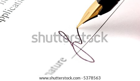 close-up of a fountain pen - stock photo