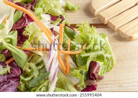 Close up of a fresh salad on a wooden kitchen table. Selective focus. - stock photo
