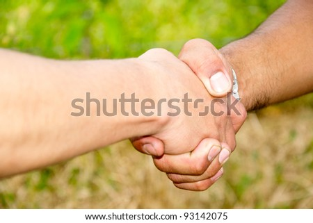 Close up of a friendly handshake - outdoors