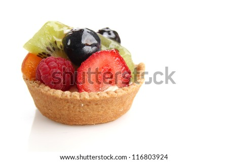 Close up of a fruity tart on white background - stock photo