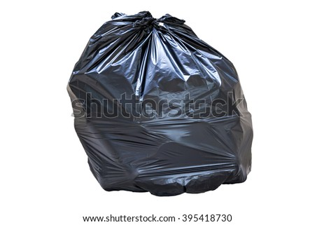 close-up of a full garbage bag isolated on white