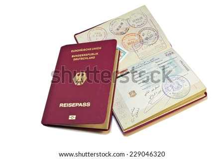 Close-up of a German Passport with a visa from an arabic country (Syria) - stock photo