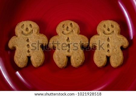 close up of a ginger bread man cookie on a red plate