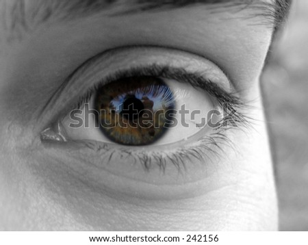 Close up of a girl eye with background desaturated