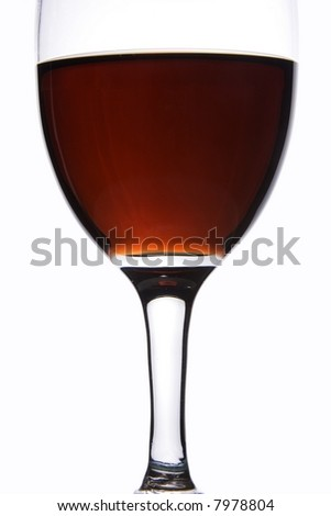 Close up of a glass of red wine in white background.