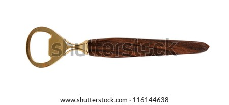 Close up of a golden bottle opener on white background - stock photo