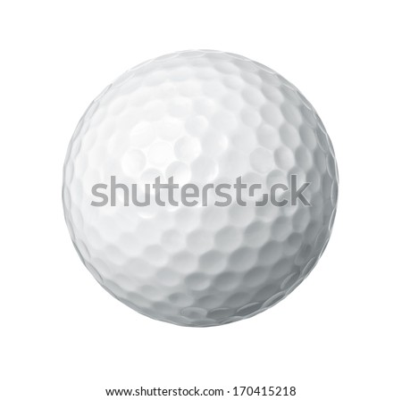 Close up of a golf ball isolated on white background - stock photo
