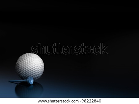 Close up of a golf ball over a black and blue background, the golfball is located at the bottom left of the image, there is room for text and reflection - stock photo