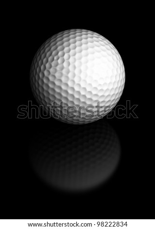 Close up of a golf ball over a black background, the golfball is located at the center of the image, there is room for text and reflection - stock photo