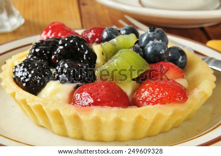 Close up of a gourmet fruit tart with berries and kiwi