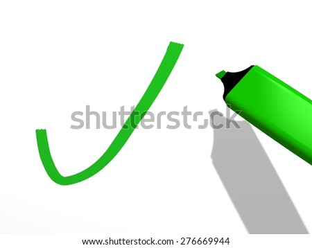 close-up of a green pen marker used to draw a validation mark on a white background, referring to concepts such as decision, correctness, approval, positive, verification, and filling a checklist - stock photo
