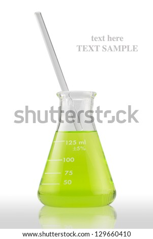 Close up of a green sample into a test lab tube (with clipping path) - stock photo