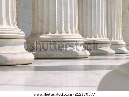 Close-Up Of A Group Of Marble Columns