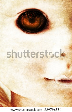 close up of a grunge horror doll - stock photo