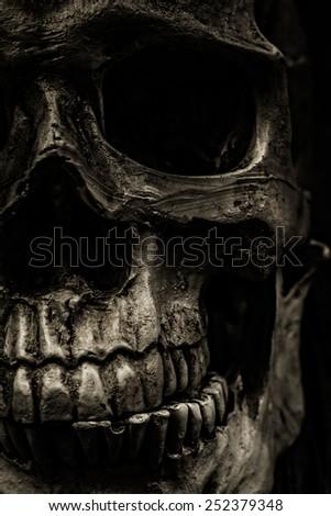 Close up of a grungy human skull. - stock photo