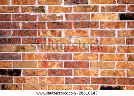 Close up of a grungy old brick wall - stock photo