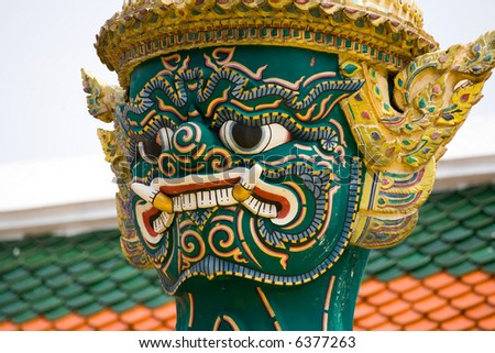 Close up of a Guard Daemon - Royal Palace, Bangkok, Thailand.