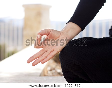 Close up of a hand gyan mudra position