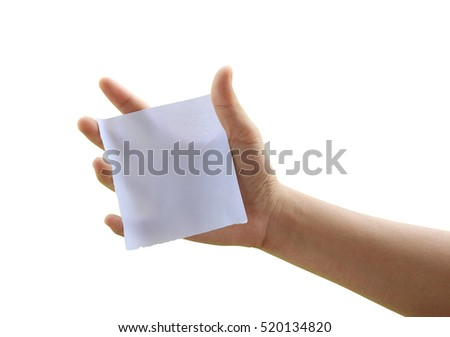 close up of a hand holding blank note paper on white background with clipping path