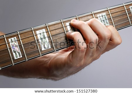Close up of a hand playing guitar.