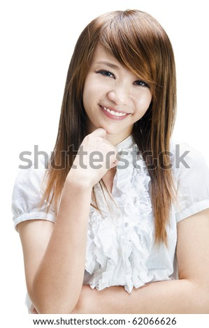 Close-up of a happy beautiful young lady - stock photo