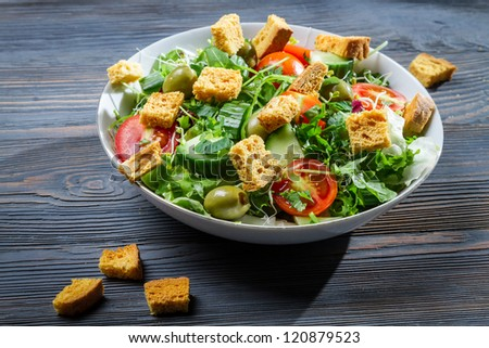 Close-up of a healthy chicken salad
