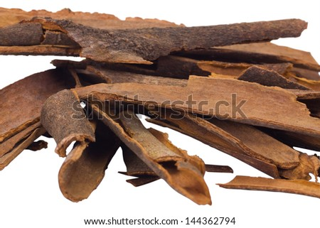 Close-up of a heap of cinnamon sticks
